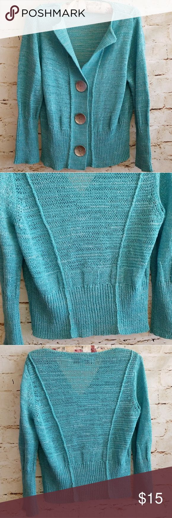 ▪Curio▪Teal Cardigan ☆Teal cardigan from Curio in Size Medium Petite ☆53% cotton/47% polyester  Thanks for looking⚘ Curio Sweaters Cardigans