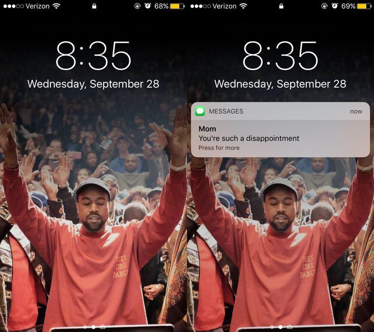 Le fond d'écran Kanye West qui porte ta notification