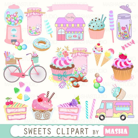 Bakery clipart: SWEETS CLIPART with cupcake clipart by MashaStudio