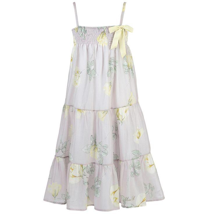 Robe longue à bretelles en voile de coton - Gris pâle et jaune Miss Blumarine pour fille | Melijoe.com