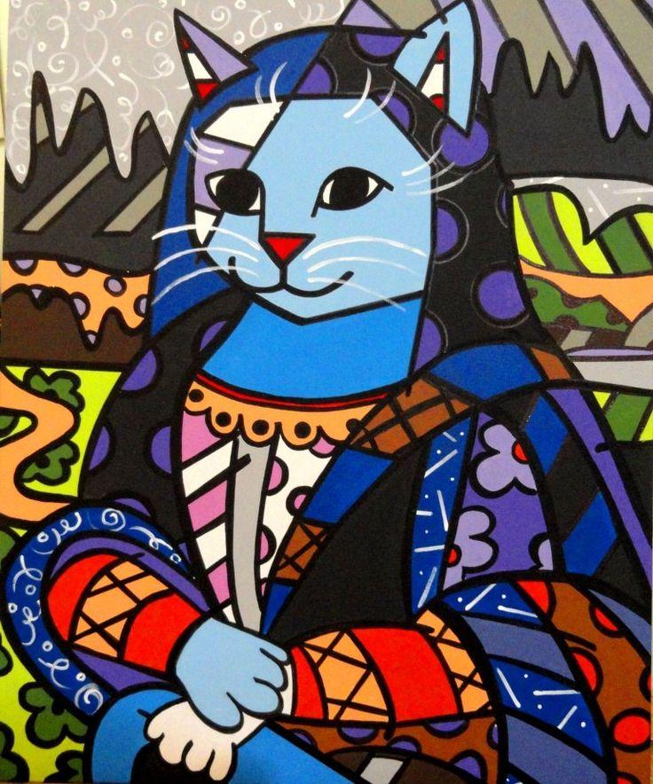 Mona Cat by Romero Britto.