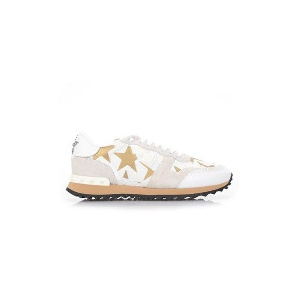 VALENTINO GARAVANI 'Rockrunner' Sneakers in Camustars Leather ($433) ❤ liked on Polyvore featuring shoes, sneakers, white, white leather trainers, white trainers, genuine leather shoes, valentino sneakers and white sneakers