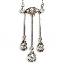 Jugendstil um 1910: Antikes COLLIER Diamanten in Gold & Platin / Diamant Kette