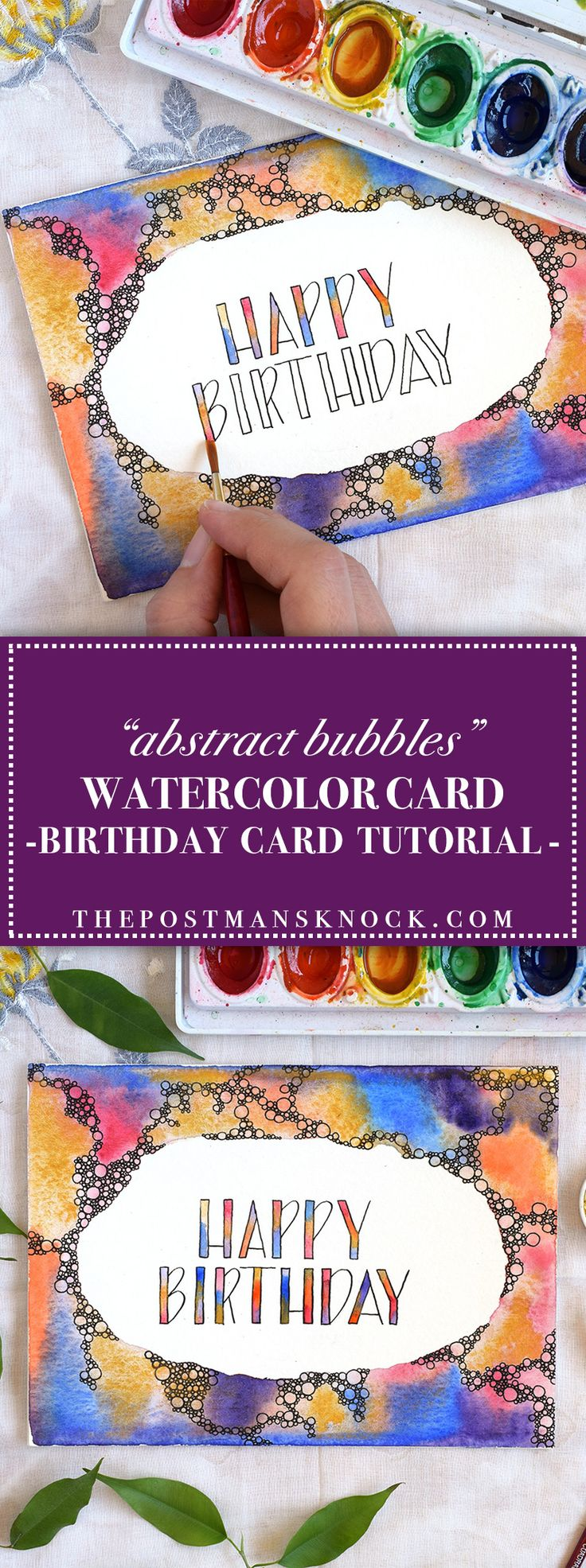 Abstract Bubbles Watercolor Birthday Card Tutorial