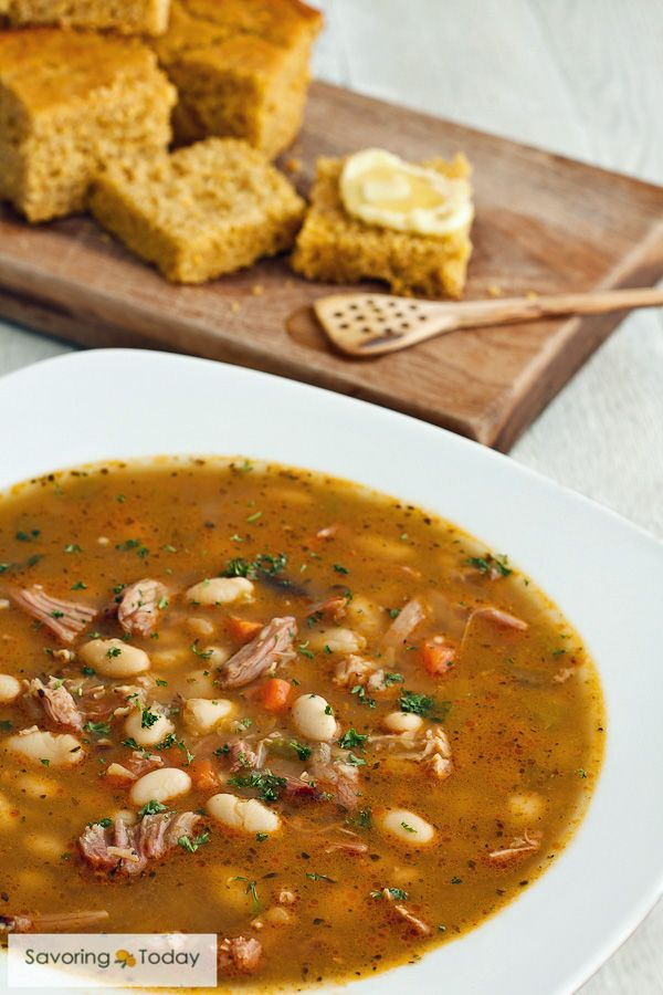 Smoked Turkey and Bean Soup Recipe with whole grain corn bread is real comfort food. Make bean soup with smoke turkey instead of ham in the pressure cooker, slow cooker, or stove top.