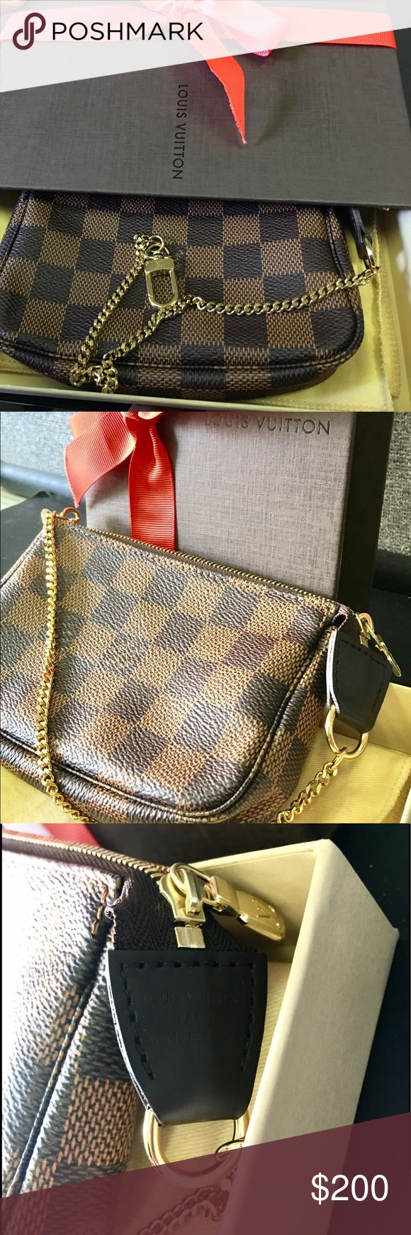 Authentic Louis Vuitton mini pochette new in box! Brand new in box! Authentic Louis Vuitton canvas monogram design mini pochette Never used! Ask ANY questions or request specific information if you are interested,  also have direct link to item on official Website! Louis Vuitton Bags Clutches & Wristlets