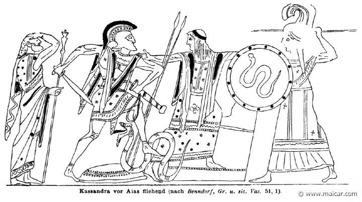 RII.1-0979.jpg - RII.1-0979: Cassandra, escaping from Ajax.Wilhelm Heinrich Roscher (Göttingen, 1845- Dresden, 1923), Ausfürliches Lexikon der griechisches und römisches Mythologie, 1884.