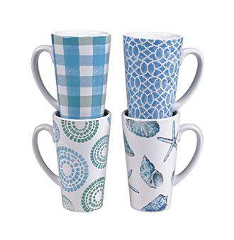 Certified International by Lisa Audit Sea Finds Set of 4 Latte Mugs