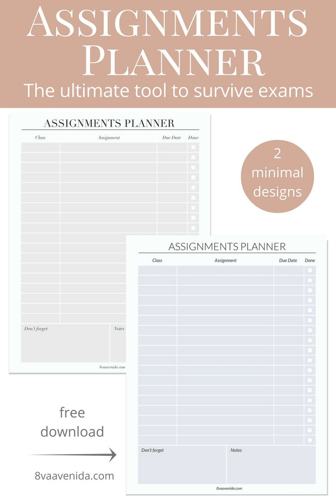 Best 25+ Assignment planner ideas on Pinterest College planner - school agenda template