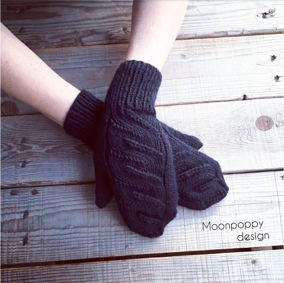 Women's cable knit mittens Black wool blend mittens