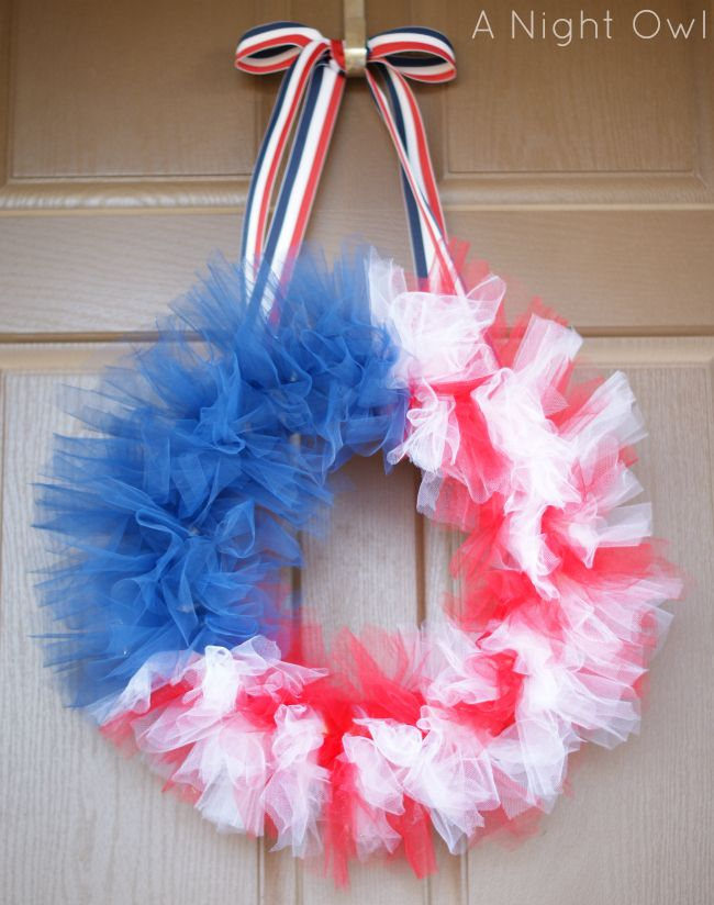 Memorial Day / 4th of July / Independence Day Tulle Flag Wreath