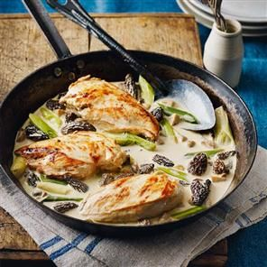 Raymond's chicken with morels and Jura wine sauce recipe. This classic French cuisine never fails to impress