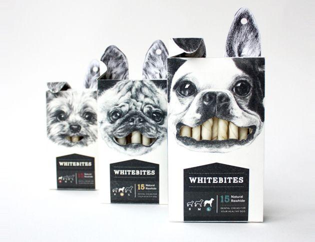 Whitebites: Witziges Verpackungsdesign für Hunde-Leckerlis