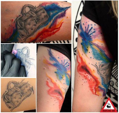 A splash of colour first big #coloursplash tattoo. bag was there before #colourtattoo #monstersink #nimztattooz#gurgaontattoo #delhitattoo