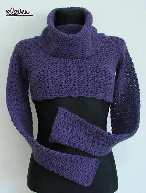 Ravelry: Bolero sweater with high collar pattern by Linda Skuja; This would be pretty as a full sweater! Link to guidelines
