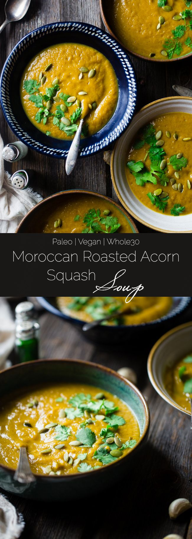 Vegan Moroccan Roasted Acorn Squash Soup - This easy soup is bursting with spices, and is sweetened with dates! It's a healthy, whole30 compliant, paleo meal for only 200 calories! | Foodfaithfitness.com | @FoodFaithFit