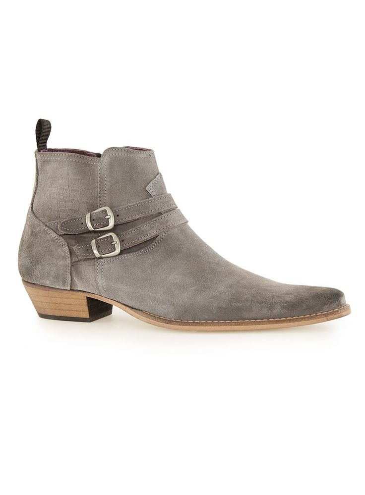 Gray Suede Buckle Boots Boots Shoes and Accessories
