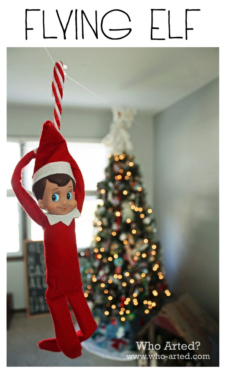 Elf on the Shelf Ideas: Zip Lining Elf! Fishing wire and a candy cane, so cute!