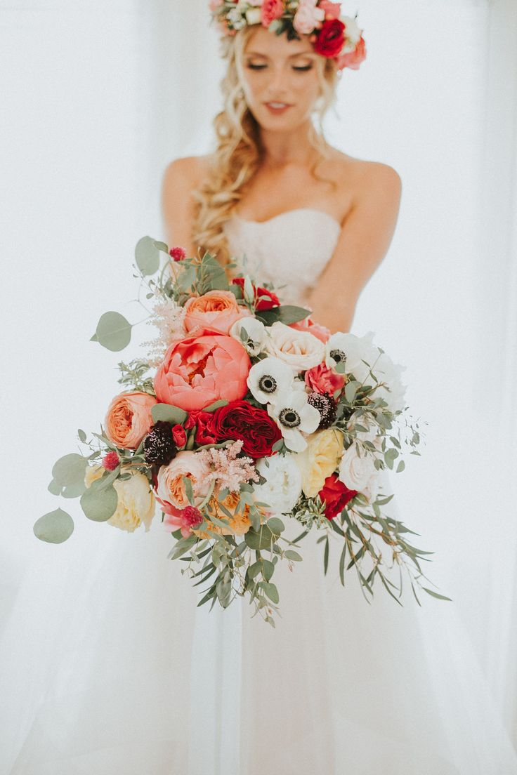 Red and Peach Floral Bouquet For Fall