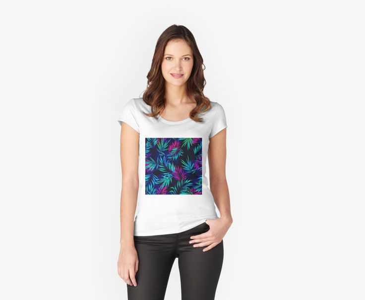 Women's Fitted Scoop T-Shirts Tropical Leaf ll by talipmemis