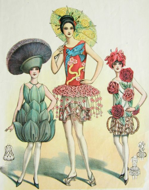Art Deco CostumesCherries Blossoms, Deco French, Deco Costumes, Vintage Illustration, Fashion Illustration, Art Deco, Floral Fashion, 1920S Art, Masquerades Customs