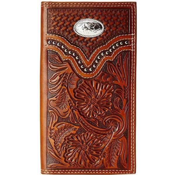 M&F Western Embossed Floral Oval Concho Rodeo Wallet (Brown) ($45) ❤ liked on Polyvore featuring men's fashion, men's bags, men's wallets, mens western wallets, mens leather wallets, mens western leather wallets and mens brown leather wallet