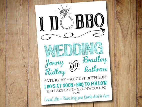 I DO BBQ Wedding Invitation Template Download - Tiffany Blue Teal Black 5x7 Wedding Printable - Rustic Wedding Download by PaintTheDayDesigns on Etsy