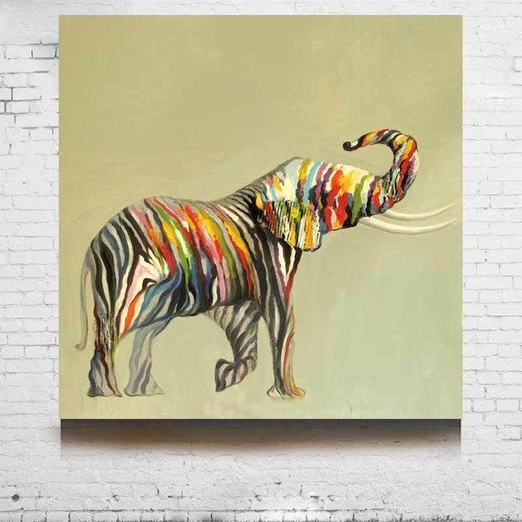 Aliexpress.com: Comprar 2015 Animal pintura al óleo abstracta fuerte elefantes pintado a mano colorido en la lona modernas cuadros murales salón de pintura para niños fotos fiable proveedores en Big MAYCHU art painting