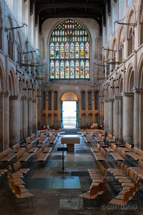 The nave of Rochester Cathedral in Kent, England.