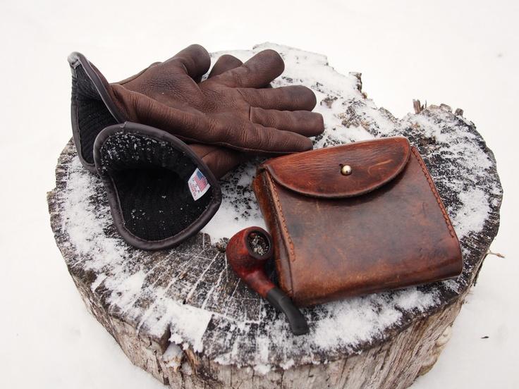 pipe case &  merino-lined deerskin Geier gloves
