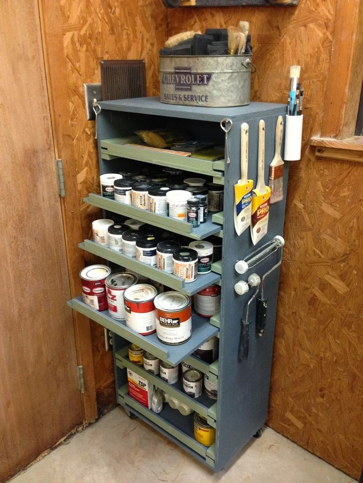 DIY Paint Storage Cabinet For All Those Paint Samples Crafting May Have. I  Would Add A Spray Can Slider And Use The Top For Some Larger Gallons Of  Paint.