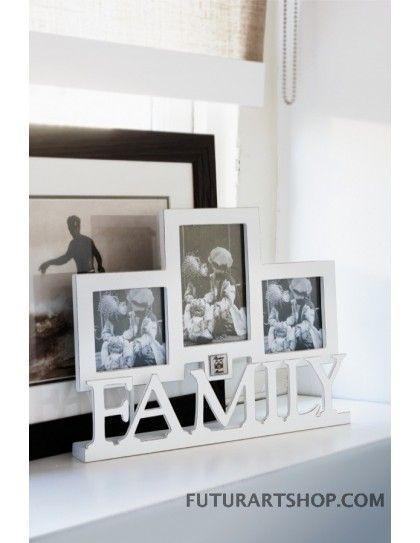 porta foto triplo con scritta famiglia, Family triple photo frame