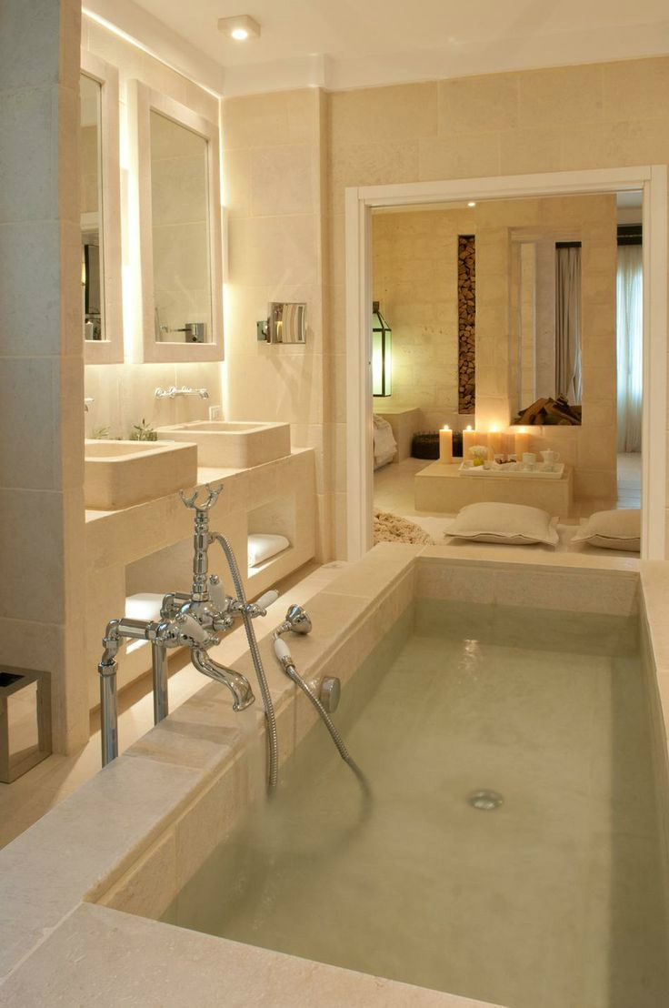 This bath is warm, inviting and yet simple.