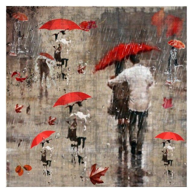 """Οι κόκκινες ομπρέλες"""" """"The red umbrellas by kondora on Polyvore featuring art"""