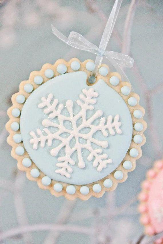 Sparkly Snowflake Decorated Sugar Cookies 12 by sweetgoosiegirl, $36.00