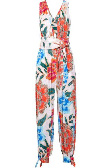 Mara Hoffman - Arcadia Printed Plissé-crepe Jumpsuit - Orange - x small