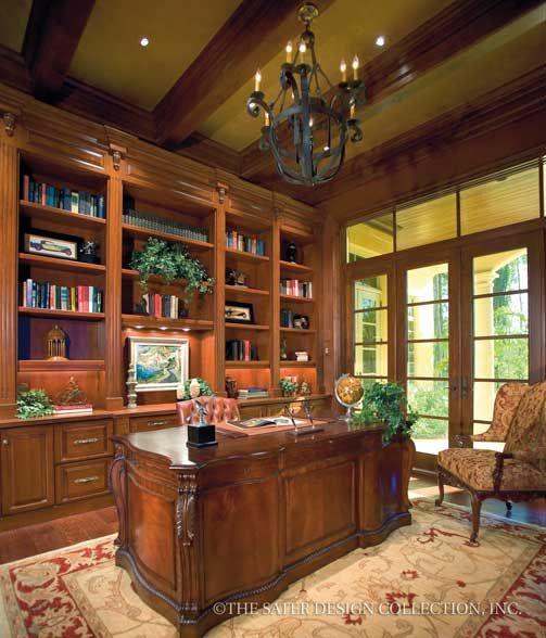 "Home Office/Study. The Sater Design Collection's luxury, Mediterranean home plan ""Cordillera"" (Plan #6953). saterdesign.com"