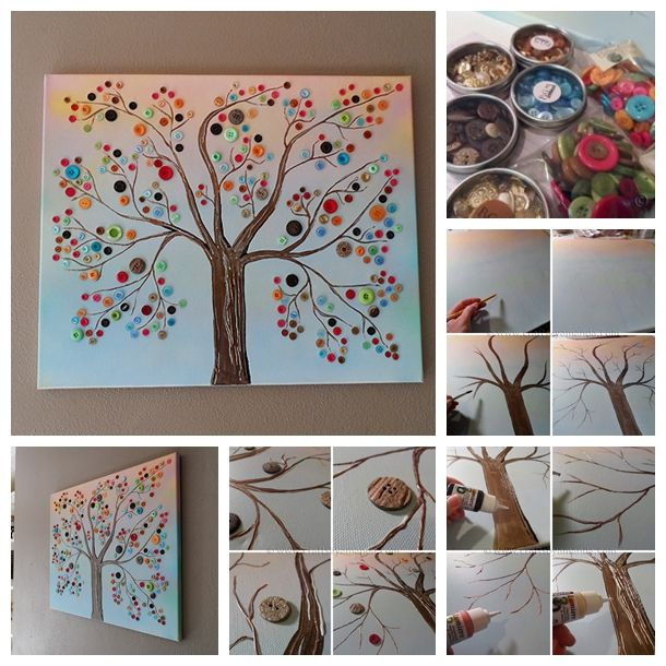 Diy Wall Art For Your Home : Best button tree canvas ideas on