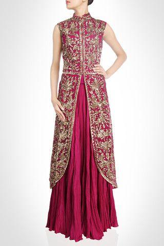 Dark majenta long jacket lehenga for Reception – Panache Haute Couture