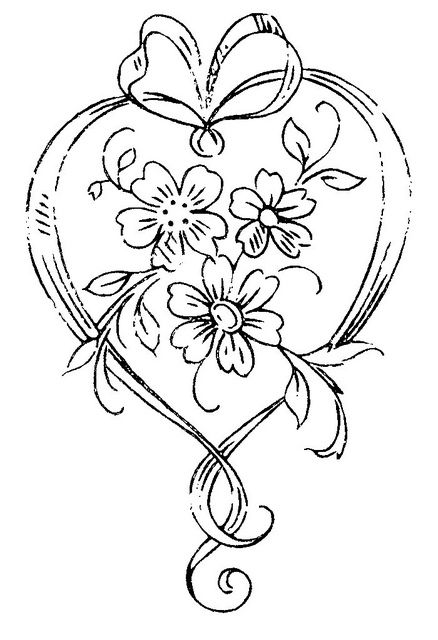 heart shape and flowers
