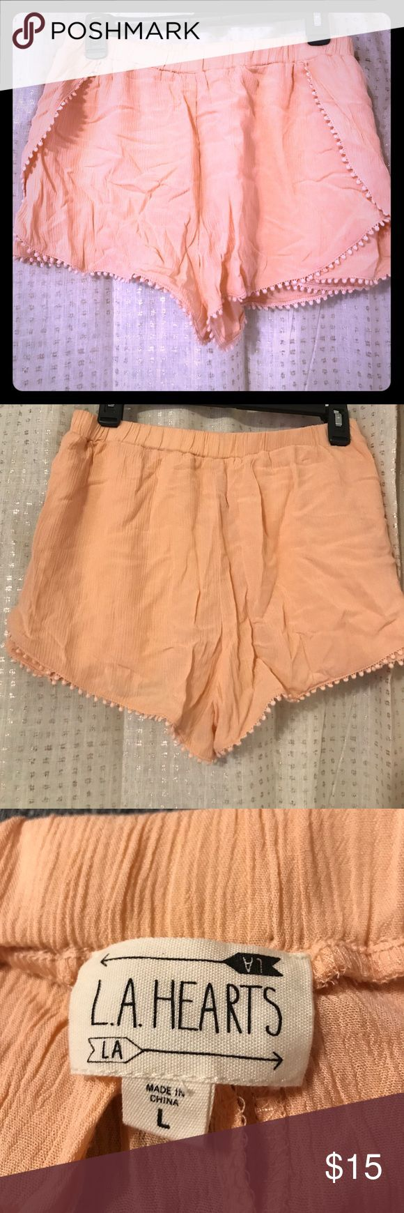 L.A. Hearts Peach Shorts Size Large 100% rayon shell, 100% cotton contrast. Lightweight soft peach colored shorts. Never worn. Perfect for spring & summer! LA Hearts Shorts