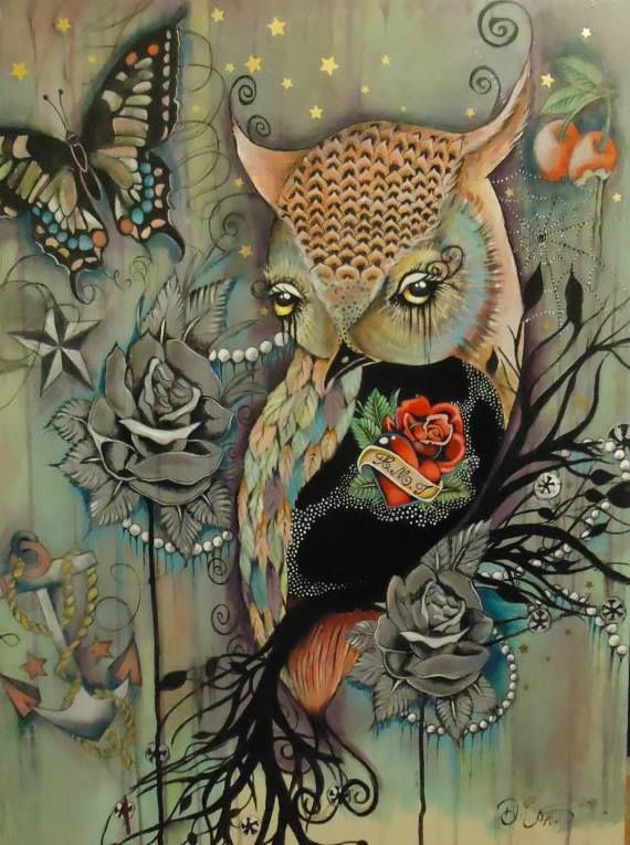 My 2 favorite things.....butterfly & owl. by Deb Buxton