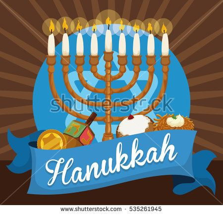 Commemorative elements to celebrate Hanukkah: Chanukiah with white candles, golden gelt coin, dreidel, sufganiyot and latke behind a blue ribbon.