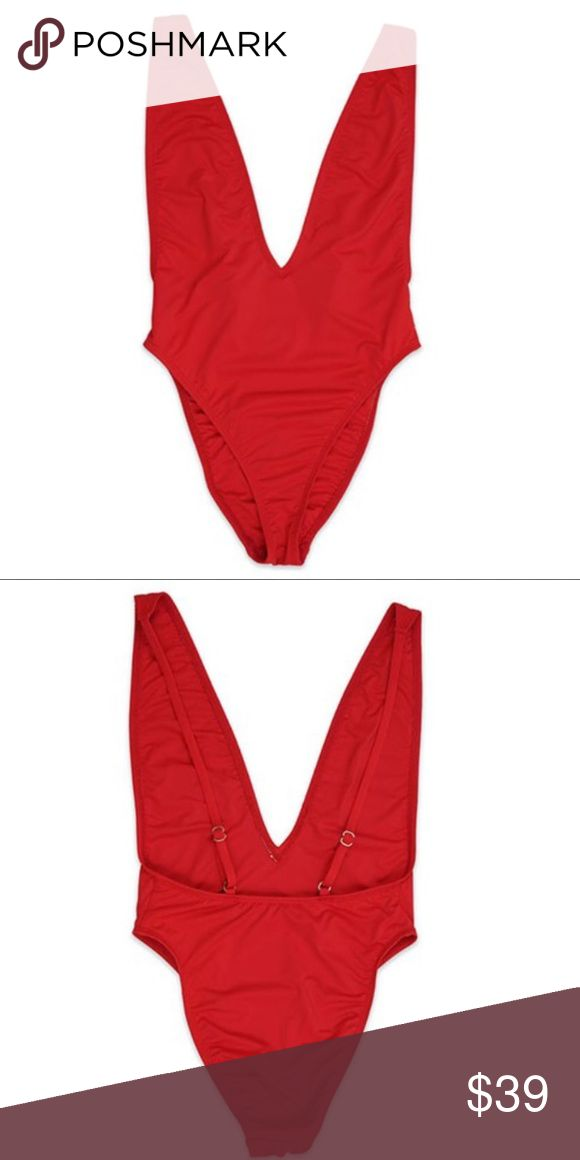 NEW Red Ultra High Cut Swimsuit Talk about FIT! This ultra-high cut swimsuit fits like a glove! With adjustable spaghetti straps and a chic silhouette for your favorite getaway, you just can't say no to this one piece wonder.   Features low V-Neck, scoop back and high cut cheeky bottom.  Available Sizes: Small, Medium and Large.  Made in the USA  V neckline Spaghetti straps (adjustable) Silver hardware Ultra-high cut silhouette Open back One piece swim Stretchy Fabric: 80% nylon and 20%…