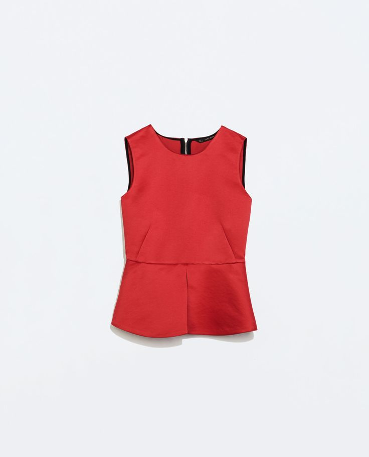 Image 6 of BACK ZIP PEPLUM TOP from Zara