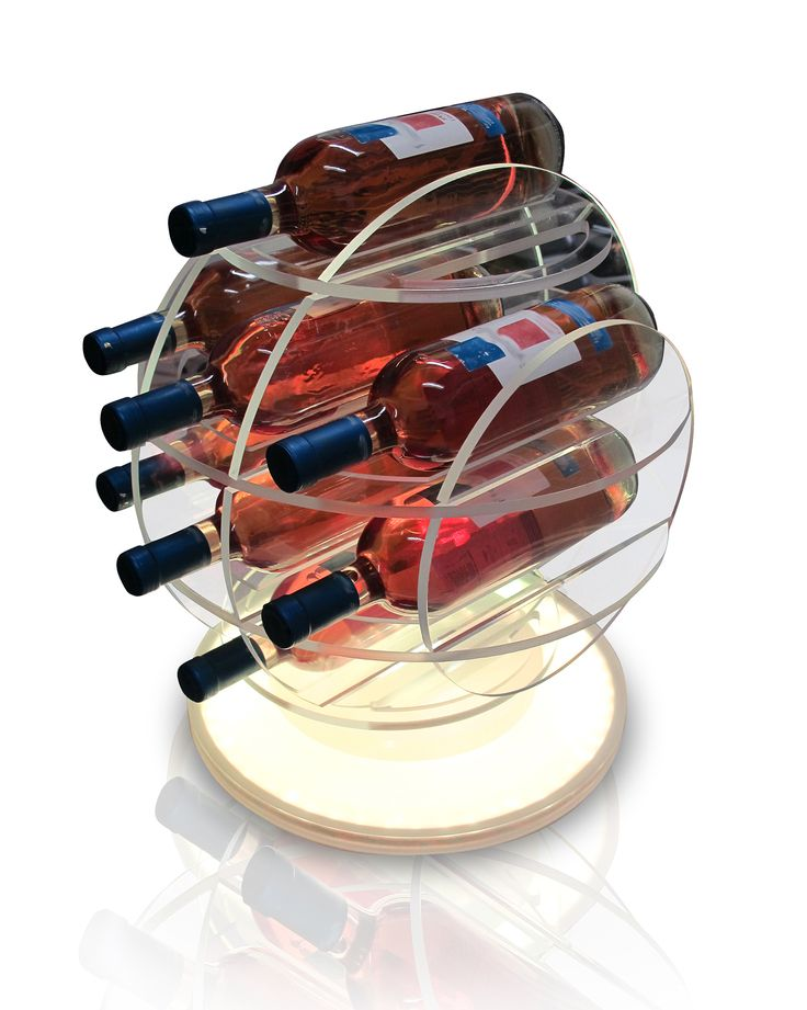 Little Sphere Light (cod. SPL08) Plexiglass Bottle-rack cut pantograph made up of interlocking sections and a base with RGB LED light that spreads over the entire object. May contain up to 8 bottles. For any info, please contact me.