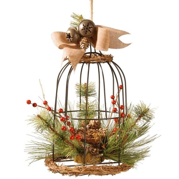 """National Tree Company 13\"""" Decorative Bird Cage With Bells & Berries ($46) ❤ liked on Polyvore featuring home, home decor, brown, pine cone home decor, national tree company, bird cage home decor, branch home decor and birdcage home decor"""
