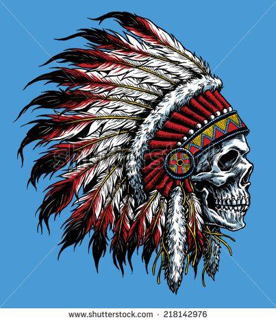 Indian skull vector illustration - stock vector