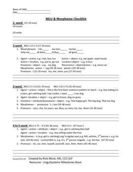Language Sample Analysis Checklist Freebie
