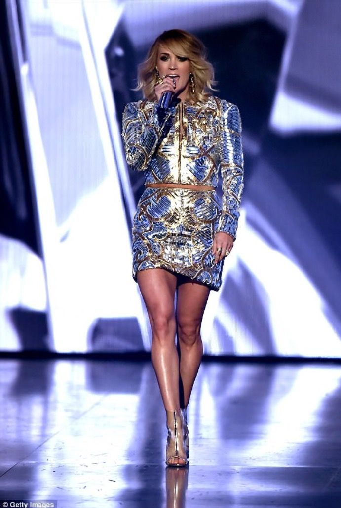 Carrie Underwood in her Metallic Dress at the 2017 ACM Awards Show.